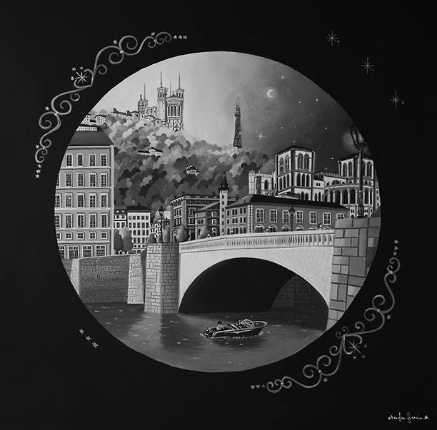 Les rues de Lyon - Toile en lin acrylique 80 x 80 cm