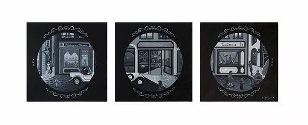 Les rues de Lyon - Toiles en lin de 40 x 40 cm chacune