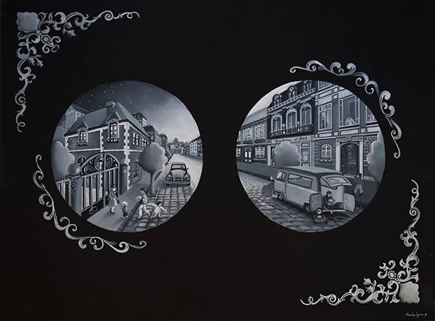 Les rues de Lyon - Toile en lin acrylique 130 x 97 cm