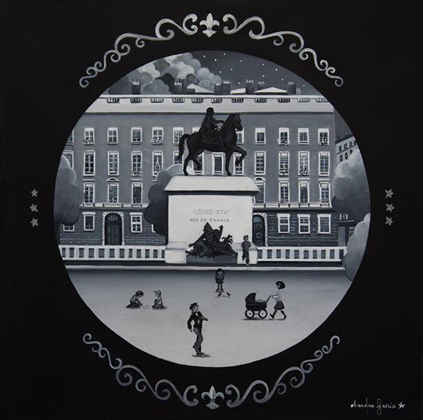 Les rues de Lyon - Toile en lin acrylique 50 x50 cm