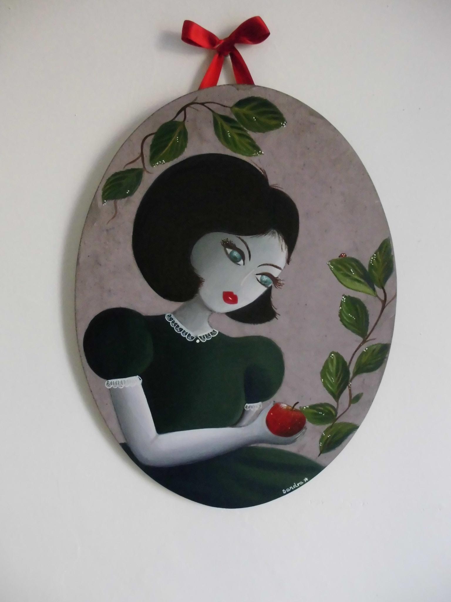 Acrylique et Gouache sur toile en lin ovale - 30 cm