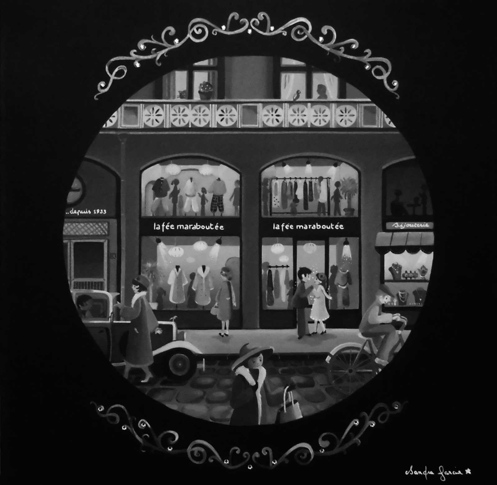 Peinture acrylique sur châssis / made with Swarovski elements.